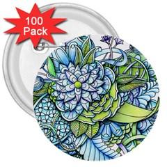 Peaceful Flower Garden 3  Button (100 Pack)