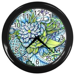 Peaceful Flower Garden Wall Clock (Black)