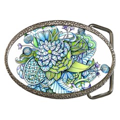 Peaceful Flower Garden Belt Buckle (Oval)