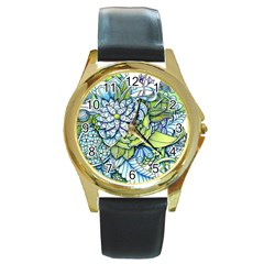 Peaceful Flower Garden Round Leather Watch (Gold Rim)