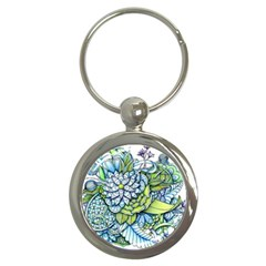 Peaceful Flower Garden Key Chain (Round)