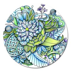 Peaceful Flower Garden Magnet 5  (Round)
