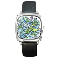 Peaceful Flower Garden Square Leather Watch