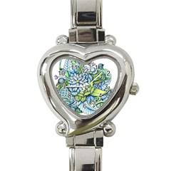 Peaceful Flower Garden Heart Italian Charm Watch