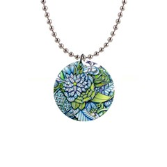 Peaceful Flower Garden Button Necklace