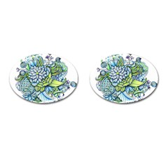 Peaceful Flower Garden Cufflinks (Oval)