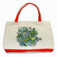 Peaceful Flower Garden Classic Tote Bag (Red)