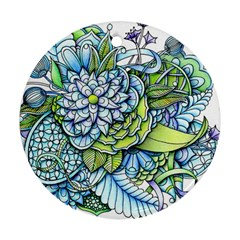 Peaceful Flower Garden Round Ornament (Two Sides)