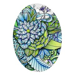 Peaceful Flower Garden Oval Ornament (Two Sides)