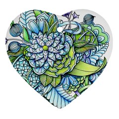 Peaceful Flower Garden Heart Ornament (Two Sides)