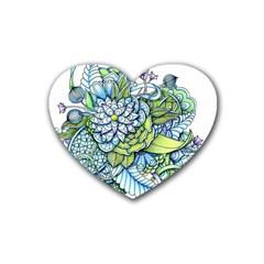Peaceful Flower Garden Drink Coasters 4 Pack (Heart)