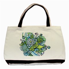 Peaceful Flower Garden Twin-sided Black Tote Bag