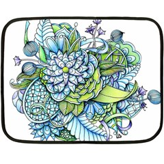 Peaceful Flower Garden Mini Fleece Blanket (Two Sided)