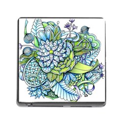 Peaceful Flower Garden Memory Card Reader With Storage (square)