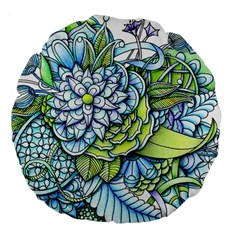 Peaceful Flower Garden 18  Premium Round Cushion