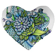 Peaceful Flower Garden 19  Premium Heart Shape Cushion