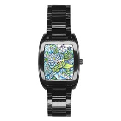 Peaceful Flower Garden Stainless Steel Barrel Watch