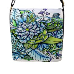 Peaceful Flower Garden Flap Closure Messenger Bag (Large)