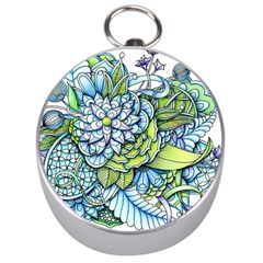 Peaceful Flower Garden Silver Compass