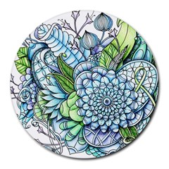 Peaceful Flower Garden 2 8  Mouse Pad (Round)