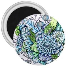 Peaceful Flower Garden 2 3  Button Magnet