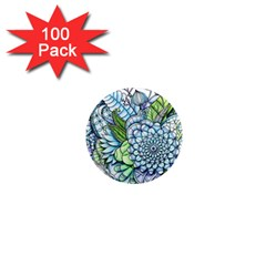 Peaceful Flower Garden 2 1  Mini Button Magnet (100 Pack)