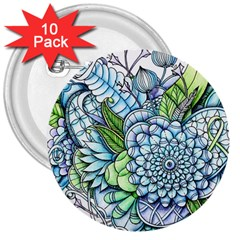 Peaceful Flower Garden 2 3  Button (10 pack)