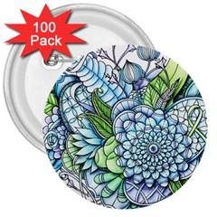 Peaceful Flower Garden 2 3  Button (100 pack)