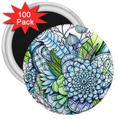 Peaceful Flower Garden 2 3  Button Magnet (100 pack)