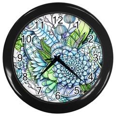 Peaceful Flower Garden 2 Wall Clock (black)