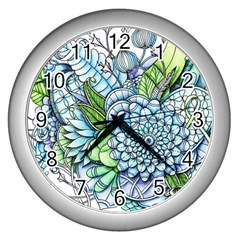 Peaceful Flower Garden 2 Wall Clock (Silver)