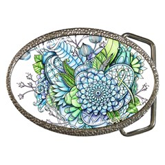 Peaceful Flower Garden 2 Belt Buckle (Oval)