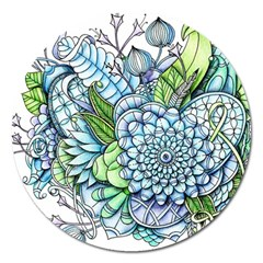 Peaceful Flower Garden 2 Magnet 5  (round)