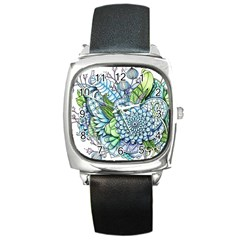 Peaceful Flower Garden 2 Square Leather Watch