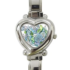Peaceful Flower Garden 2 Heart Italian Charm Watch