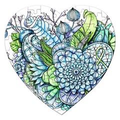 Peaceful Flower Garden 2 Jigsaw Puzzle (Heart)