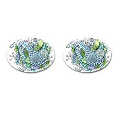 Peaceful Flower Garden 2 Cufflinks (Oval)