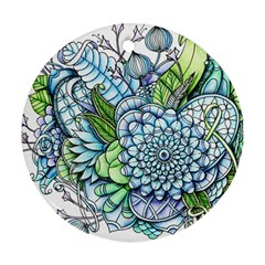 Peaceful Flower Garden 2 Round Ornament (Two Sides)