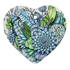 Peaceful Flower Garden 2 Heart Ornament (Two Sides)