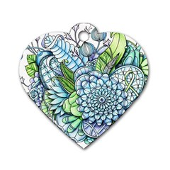 Peaceful Flower Garden 2 Dog Tag Heart (Two Sided)