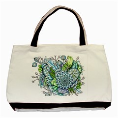 Peaceful Flower Garden 2 Twin-sided Black Tote Bag