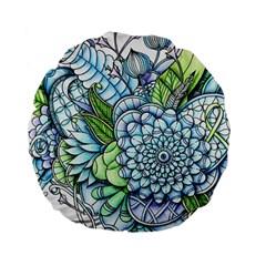 Peaceful Flower Garden 2 15  Premium Round Cushion