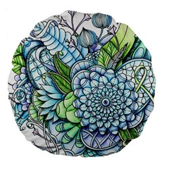 Peaceful Flower Garden 2 18  Premium Round Cushion