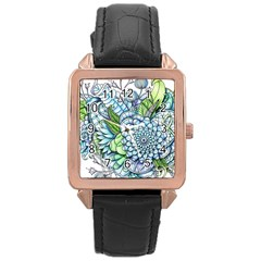 Peaceful Flower Garden 2 Rose Gold Leather Watch
