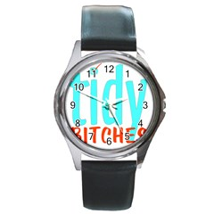 Tidy Bitcheslarge1 Fw Round Leather Watch (Silver Rim)