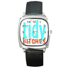 Tidy Bitcheslarge1 Fw Square Leather Watch