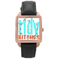 Tidy Bitcheslarge1 Fw Rose Gold Leather Watch