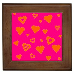 Hot Pink And Orange Hearts By Khoncepts Com Framed Ceramic Tile