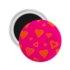 Hot Pink And Orange Hearts By Khoncepts Com 2.25  Button Magnet