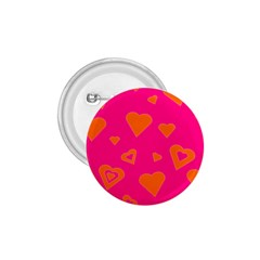 Hot Pink And Orange Hearts By Khoncepts Com 1.75  Button